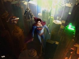 Superman over Metropolis by simonpimpernel