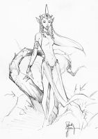 Elf Princess con sketch by RandyGreen