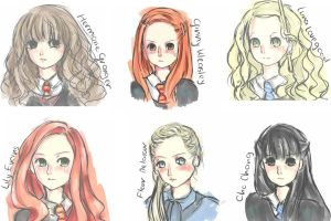 [Quick doodle] Girls in Harry Potter by Nivilia