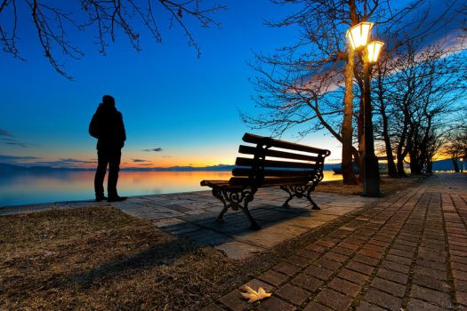 Sunset bench by NickKoutoulas