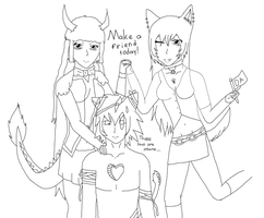 Deviants and an OC -Lineart- by sonicnshadow321