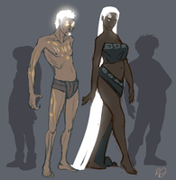 Humanoid Ignis and Akia designs by ArtByRiana