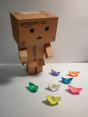 Danbo and Little Origami Boats by hoshiterasu