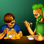 Diego and Florian at Dinnertime by SillyEwe