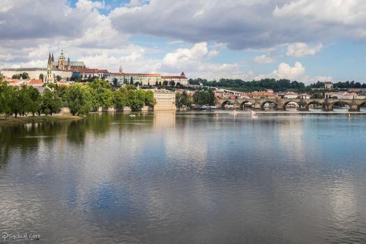 Charles Bridge and Prague Castle by CyclicalCore