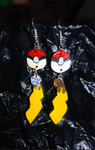 Handmade Pokemon Pikachu Dangle Earrings! by spikess