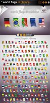 world flags in ribbons by gomez-design