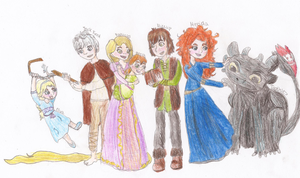 The Big Four (+Elsa, Anna and Toothless) by Julkauke