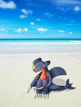 [AT] Garchomp at the beach by Rubombee