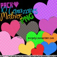 Pack 10 Corazones Motivos PNG by Norgelys