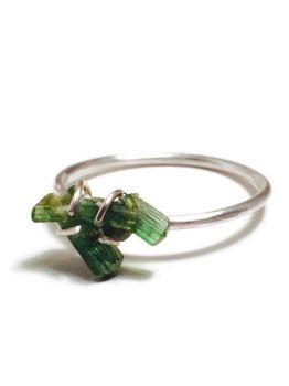 Raw Green Tourmaline Prong Set in Sterling Silver by TheWickedGriffin