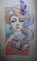Tattoo design - Girl and heart by Xenija88