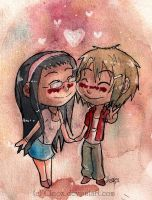 AzamixGwen .chibi lovers. by Cleox