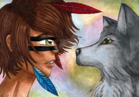 The Wolf And The  Boy by TheLuckyStarhopper
