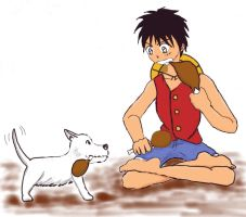 Luffy and Dog by straw-hat