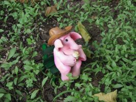 Small Pink Elephant on a Teeny Tiny Bench by Wazaga