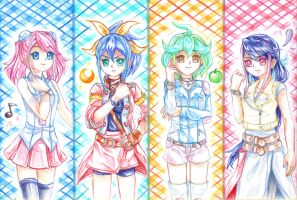 YGO Arc-V: The Bracelet Girls (Traditional art) by YWaiAiI