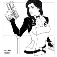 Mass Effect 2- Miranda BnW by MikeDimayuga