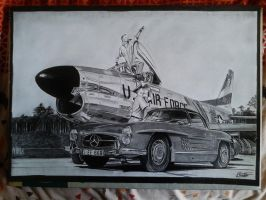 F-86D Sabre Dog and Mercedes 300SL finished by alainmi