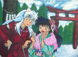 Inuyasha and Kagome by EbonyRedgrave