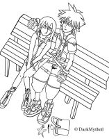 Sora and Kairi- Date by DarkMythril