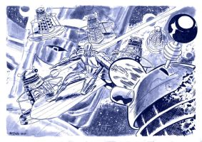 Silver Surfer vs the Daleks by danmcdaid