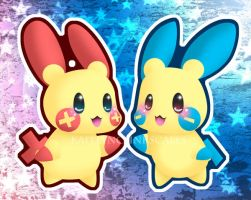 Plusle and Minun by Clinkorz