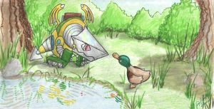 Smallbot Dragon and Duck by Cyberpumpkin
