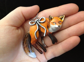 Fox on a String Necklace by Gatobob