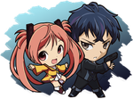 Chibi Enju and Rentaro by J8d