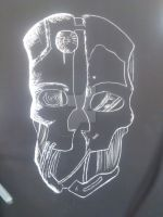 Dishonored Scratchboard Art Project WIP 3 by nohugforanyofyou