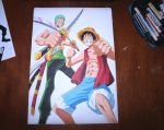 Luffy and Zoro by CameoStoique