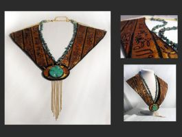 Egypt style leather necklace by julishland
