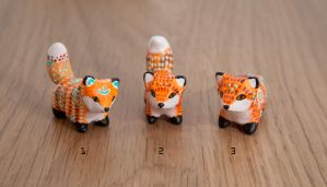 Little fox totems, polymer clay by lifedancecreations