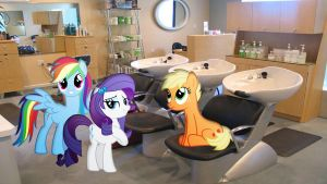 Rarity And Friends At The Salon by Macgrubor