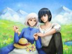 Howl and Sophie by lilythescorpio