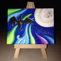 Blue night on the small canvas by MiaErrianIrielynn