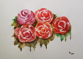 Roses (watercolor) by AlexandraDart