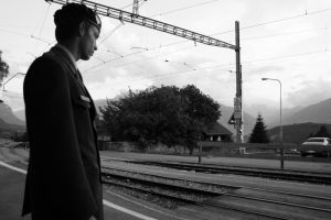 Yann waitting the train... by Lucie-Vernier