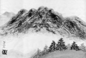 Sumi-e Practice : Mountain Scenery by mib4art