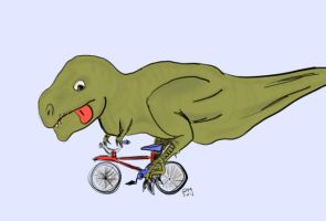 T-Rex on a bike by prometheus31