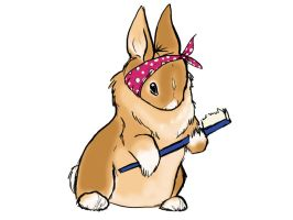 rabbit with toothbrush by dyb