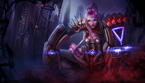 League of Legends_VI_Cyberpunk_Splash by Kashuse