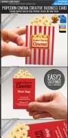 Golden popcorn business card by Lemongraphic