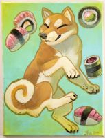 Sweet Lil Shibe and Sushi by Ifus