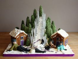 Ski Slope Cake with Gingerbread Chalets by KatesKakes