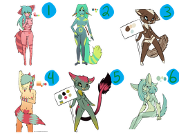CLOSED - Assortment of Anthro Adopts by AJBurnsArt