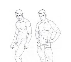 Male Body Sketches by GrueneDroehnung
