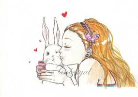 Bunny kisses by Celestyal