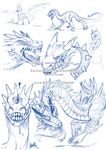 Character design sketches + Warmups by Helixel